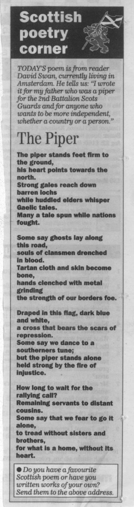 Newspaper copy of Piper Poem